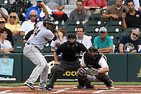 Jupiter Hammerheads first baseman Felix Munoz (24) at bat in front of umpire Joe George and catcher Jin-De Jhang (47) during a game against the Bradenton Marauders on April 17, 2015 at McKechnie Field in Bradenton, Florida.  Bradenton defeated Jupiter 11-6.  (Mike Janes/Four Seam Images)