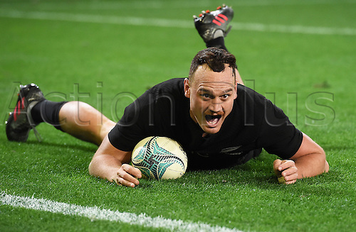 25.06.2016. Dunedin, New Zealand.  Israel Dagg scores a try in the last seconds of the match. New Zealand NZ All Blacks versus Wales. Rugby Union. 3rd test match of the Steinlager series. Forsyth Barr Stadium, Dunedin, New Zealand. Saturday 25 June 2016.