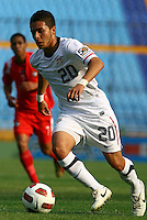 Eder Arreola dribbles the ball. USA Men's Under 20 defeated Panama 2-0 at Estadio Mateo Flores in Guatemala City, Guatemala on April 2nd, 2011.
