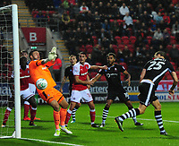 Rotherham United&rsquo;s Richard O&rsquo;Donnell appears to make a save from a headed effort by Lincoln City's Sean Raggett<br /> <br /> Photographer Chris Vaughan/CameraSport<br /> <br /> The Carabao Cup First Round - Rotherham United v Lincoln City - Tuesday 8th August 2017 - New York Stadium - Rotherham<br />  <br /> World Copyright &copy; 2017 CameraSport. All rights reserved. 43 Linden Ave. Countesthorpe. Leicester. England. LE8 5PG - Tel: +44 (0) 116 277 4147 - admin@camerasport.com - www.camerasport.com