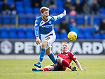 St Johnstone v Aberdeen&hellip;15.04.17     SPFL    McDiarmid Park<br />David Wotherspoon is tackled by Johnny Hayes<br />Picture by Graeme Hart.<br />Copyright Perthshire Picture Agency<br />Tel: 01738 623350  Mobile: 07990 594431