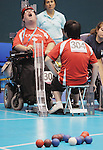 November 16 2011 - Guadalajara, Mexico:  Paul Gautier celebrates after winning the gold medal by scoring 5 points in the final end of his match in Boccia BC3 in the Multipurpose Gymnasium Revolución at the 2011 Parapan American Games in Guadalajara, Mexico.  Photos: Matthew Murnaghan/Canadian Paralympic Committee