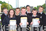 GOOD RESULT: Collecting their Junior Cert results in Killarney Community College on Wednesday was l-r: Stephen Lyne, Jean Counihan, Kamil Pastuzka, John Doona, Patrick O'Callaghan, Padraig McCarthy and Montas Valasinnas.   Copyright Kerry's Eye 2008