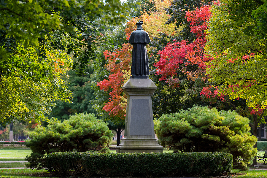 October 4, 2018; Statue of Fr. Edward Sorin and fall foliage on the Main Quad. (Photo by Barbara Johnston/University of Notre Dame)