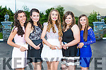 The contestants for the Regatta Queen dance in the Killarney Oaks Hotel on Tuesday night l-r: Aoife Farrell Muckross RC, Sara O'Brien Fossa RC, Miriam Fleming Flesk Valley, Karen Parker St Brendans RC and Leona Browne Workmens RC