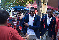 NWA Democrat-Gazette/CHARLIE KAIJO Ole Miss players greet fans before a football game, Saturday, September 7, 2019 at Vaught-Hemingway Stadium in Oxford, Miss.