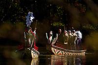The Myojin-ike Festival at Kamikochi, seen through the dense wild vegetation on the shores of the highland lake.