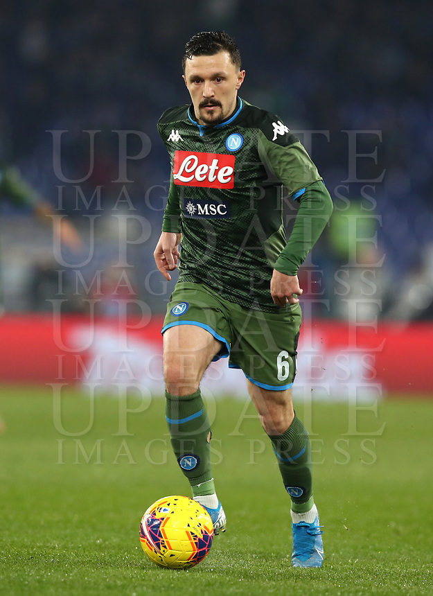 Football, Serie A: S.S. Lazio - Napoli, Olympic stadium, Rome, January 11, 2020.<br /> Napoli's Mario Rui in action during the Italian Serie A football match between S.S. Lazio and Napoli at Rome's Olympic stadium, Rome , on January 11, 2020.<br /> UPDATE IMAGES PRESS/Isabella Bonotto