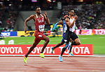 Abderrahaman SAMBA (QAT) and Yasmani COPELLO (TUR) in the mens 400m hurdles semi-final. IAAF world athletics championships. London Olympic stadium. Queen Elizabeth Olympic park. Stratford. London. UK. 07/08/2017. ~ MANDATORY CREDIT Garry Bowden/SIPPA - NO UNAUTHORISED USE - +44 7837 394578