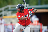 Brevard County Manatees left fielder David Denson (13) at bat during a game against the Lakeland Flying Tigers on August 8, 2016 at Henley Field in Lakeland, Florida.  Lakeland defeated Brevard County 6-2.  (Mike Janes/Four Seam Images)