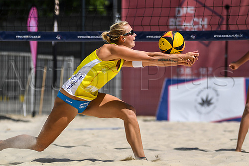 27th June 2020, Dusseldorf, Germany; The German Beach Volleyball League;  Kim Behrens lays up at the netrx