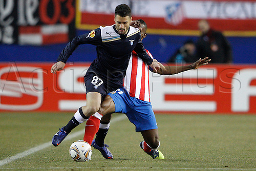 23.02.2012, SPAIN -  UEFA Europa League match played between Atletico de Madrid vs S.S. Lazio (1-0) at Vicente Calderon stadium. Picture show Antonio Candreva (Lazio) and Luis Amaranto Perea (Colombian defender of At. Madrid)