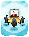 Business executives video conferencing in office