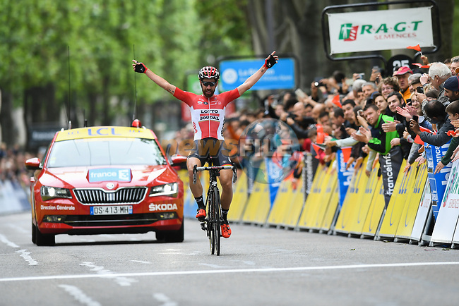 Thomas De Gendt (BEL) Lotto-Soudal steals a march on everyone to win Stage 1 solo of the Criterium du Dauphine 2017, running 170.5km from Saint Etienne to Saint Etienne, France. 4th June 2017. <br /> Picture: ASO/A.Broadway | Cyclefile<br /> <br /> <br /> All photos usage must carry mandatory copyright credit (&copy; Cyclefile | ASO/A.Broadway)