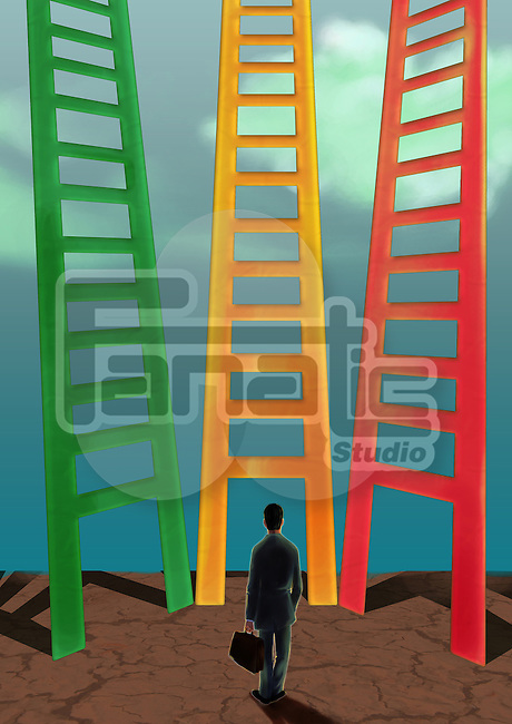Businessman looking at three different ladders