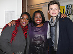 Amber Riley with mom Tiny & Chris Colfer (GLEE)  backstage at Encores! 'Cotton Club Parade' at City Center in New York City on 11/17/2012