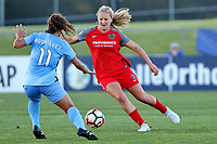 Piscataway, NJ - Saturday June 3, 2017: Raquel Rodriguez, Lindsey Horan during a regular season National Women's Soccer League (NWSL) match between Sky Blue FC and the Portland Thorns at Yurcak Field.  Portland defeated Sky Blue, 2-0.