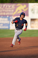 State College Spikes center fielder Scott Hurst (7) running the bases after hitting a triple during a game against the Auburn Doubledays on August 21, 2017 at Falcon Park in Auburn, New York.  Auburn defeated State College 6-1.  (Mike Janes/Four Seam Images)