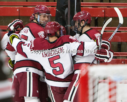 Wiley Sherman (Harvard - 25), Clay Anderson (Harvard - 5), Brian Hart (Harvard - 39) - The Harvard University Crimson defeated the Brown University Bears 4-3 to sweep their first round match up in the ECAC playoffs on Saturday, March 7, 2015, at Bright-Landry Hockey Center in Cambridge, Massachusetts.