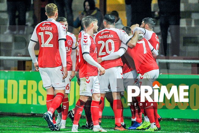 Fleetwood Town celebrate the opening goal during the Sky Bet League 1 match between Fleetwood Town and Coventry City at Highbury Stadium, Fleetwood, England on 27 November 2018. Photo by Stephen Buckley / PRiME Media Images.