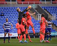 7th July 2020; Madejski Stadium, Reading, Berkshire, England; English Championship Football, Reading versus Huddersfield; Jonas Lossl of Huddersfield catches the ball above his defenders