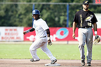 03 September 2011: Mervin Gario of the Vaessen Pioniers is seen on second base, next to Vince Rooi of the L&D Amsterdam Pirates during game 1 of the 2011 Holland Series won 5-4 in inning number 14 by L&D Amsterdam Pirates over Vaessen Pioniers, in Hoofddorp, Netherlands.