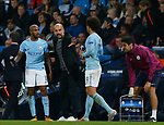 Josep Guardiola manager of Manchester City issues instructions to Fabian Delph and Leroy Sane of Manchester City during the Champions League Group F match at the Emirates Stadium, Manchester. Picture date: September 26th 2017. Picture credit should read: Andrew Yates/Sportimage