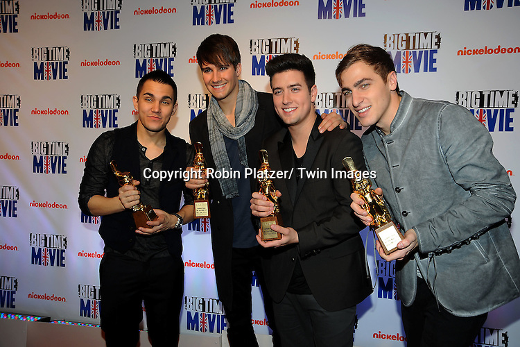 """Big Time Rush""""s Kendal Schmidt, Carlos Pena, Jr,  James Maslow and Logan Henderson attend The movie premiere of """" Big Time Movie"""" starring .Big Time Rush of Nickelodeon on March 8, 2012 at 583 Park Avenue in New York City."""