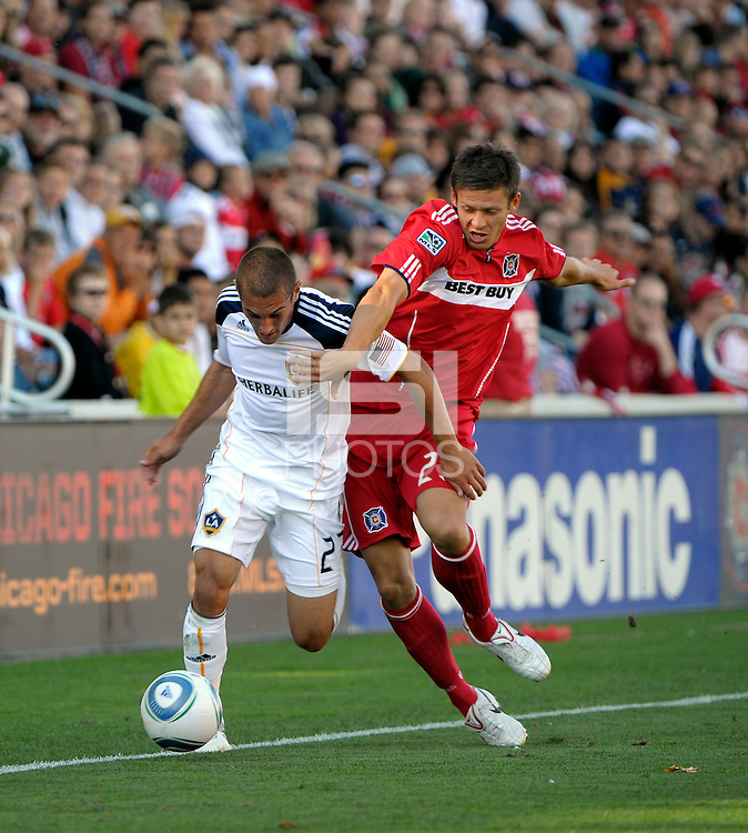 LA Galaxy forward Bryan Jordan (27) battles for the ball with Chicago defender Krzystof Krol (23).  The LA Galaxy tied the Chicago Fire 1-1 at Toyota Park in Bridgeview, IL on September 4, 2010