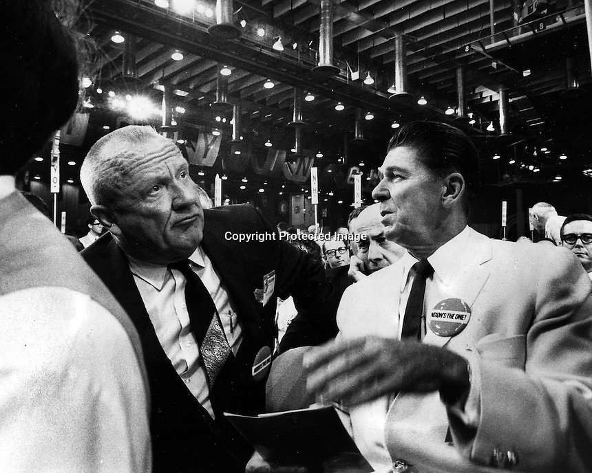 Senator William F. Knowland with Ronald Reagan at the Republican Convention in Miami. 1968 (photo by Ron Riesterer)