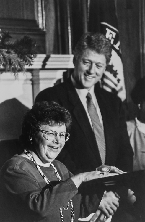 Sen. Barbara Mikulski, D-Md., and President Bill Clinton at a press conference. He is visiting to Congress to meet the new House members and Democratic leadership of both chambers on May 22, 1995. (Photo by Maureen Keating/CQ Roll Call via Getty Images)