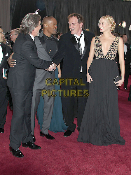 Don Johnson, Jamie Foxx, guest, Quentin Tarantino & Lianne Spiderbaby.85th Annual Academy Awards held at the Dolby Theatre at Hollywood & Highland Center, Hollywood, California, USA..February 24th, 2013.oscars full length black suit white shirt dress grey gray plunging neckline side profile shaking hands .CAP/ADM/RE.©Russ Elliot/AdMedia/Capital Pictures.