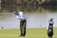 Justin Walters (RSA) plays his 2nd shot on the 14th hole during Thursday's Round 1 of the 2016 Portugal Masters held at the Oceanico Victoria Golf Course, Vilamoura, Algarve, Portugal. 19th October 2016.<br /> Picture: Eoin Clarke | Golffile<br /> <br /> <br /> All photos usage must carry mandatory copyright credit (&copy; Golffile | Eoin Clarke)
