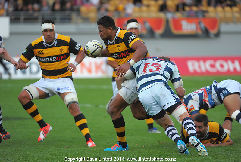 Seta Tamanivalu in action during the ITM Cup rugby match between Taranaki and Auckland at Yarrow Stadium, New Plymouth, New Zealand on Saturday, 18 October 2014. Photo: Dave Lintott / lintottphoto.co.nz