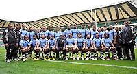 Twickenham, England. The Fiji squad pose for a team photograph prior to the QBE international match between England and Fiji at Twickenham Stadium on November 10, 2012 in London, England