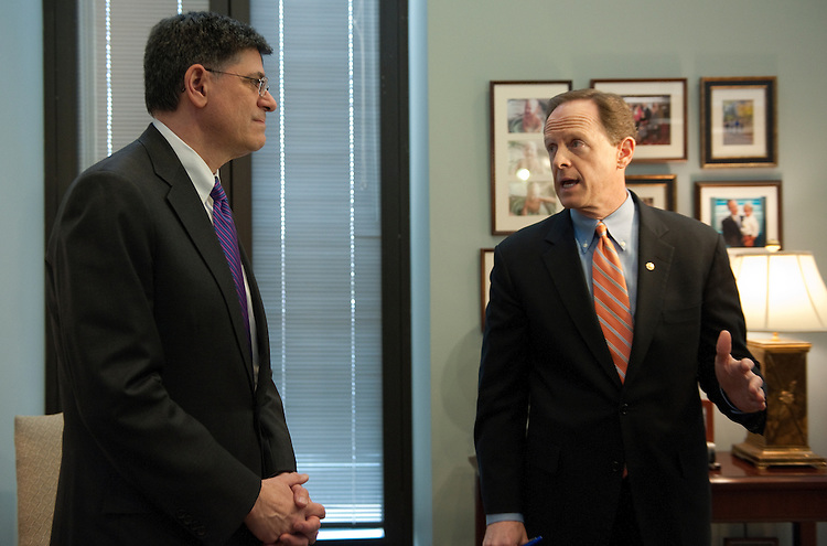 UNITED STATES - Jan 24 : Sen. Pat Toomey, R-Pa. talks with Jacob Lew, the president's nominee for Treasury Secretary January 24, 2013 in his offcie in the Hart Senate Office Building.  (Photo By Douglas Graham/CQ Roll Call)