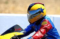 Jul. 27, 2013; Sonoma, CA, USA: NHRA pro stock motorcycle rider Scotty Pollacheck during qualifying for the Sonoma Nationals at Sonoma Raceway. Mandatory Credit: Mark J. Rebilas-
