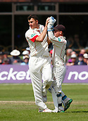 June 12th 2017, Trafalgar Road Ground, Southport, England; Specsavers County Championship Division One; Day Four; Lancashire versus Middlesex; Ryan McLaren is congratulated by Alex Davies after taking his second wicket of the day, Dawid Malan caught behind by Davies as Middlesex fall to 180-8; Middlesex were 27 runs ahead at the start of the day with four second innings wickets remaining