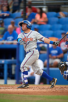 St. Lucie Mets left fielder Nick Sergakis (1) follows through on a swing during a game against the Dunedin Blue Jays on April 20, 2017 at Florida Auto Exchange Stadium in Dunedin, Florida.  Dunedin defeated St. Lucie 6-4.  (Mike Janes/Four Seam Images)