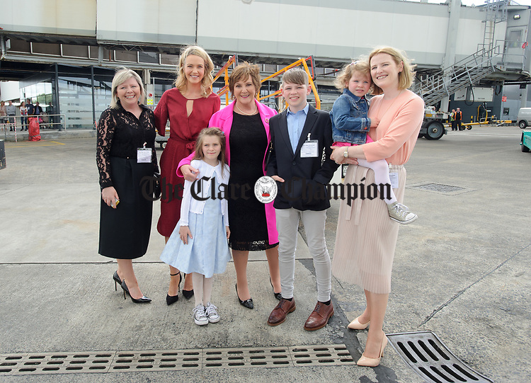 June Curtin, (sister) Aoibhin Garrihy, (wife), Claire Burke, (mother), Callum Curtin, (nephew) and Pamela (sister) with nieces Amelya and Ava waiting for John Burke's arrival back to Shannon Airport, following his success in being the first Clare person ever to climb Mount Everest. Photograph by John Kelly.