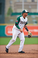 Fort Wayne TinCaps third baseman Luis Almanzar (3) during a Midwest League game against the Kane County Cougars at Parkview Field on May 1, 2019 in Fort Wayne, Indiana. Fort Wayne defeated Kane County 10-4. (Zachary Lucy/Four Seam Images)