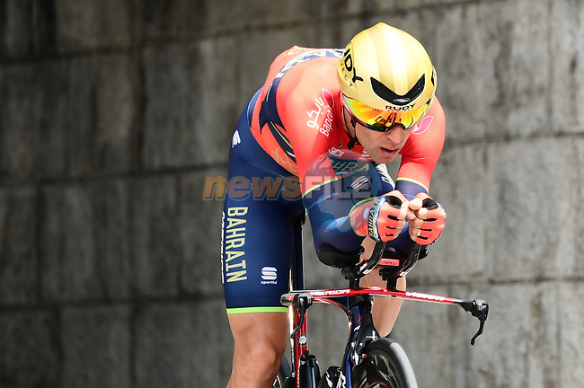 Pre race favourite Vincenzo Nibali (ITA) Bahrain-Merida in action during the opening Prologue of the 2018 Criterium du Dauphine running 6.6km around Valence, France. 3rd June 2018.<br /> Picture: ASO/Alex Broadway | Cyclefile<br /> <br /> <br /> All photos usage must carry mandatory copyright credit (© Cyclefile | ASO/Alex Broadway)