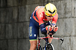 Pre race favourite Vincenzo Nibali (ITA) Bahrain-Merida in action during the opening Prologue of the 2018 Criterium du Dauphine running 6.6km around Valence, France. 3rd June 2018.<br /> Picture: ASO/Alex Broadway | Cyclefile<br /> <br /> <br /> All photos usage must carry mandatory copyright credit (&copy; Cyclefile | ASO/Alex Broadway)