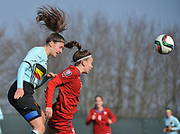 20180221 - TUBIZE , BELGIUM : Belgian Romy Camps (L) and Czech Republican Andrea Hola (R) pictured during the friendly female soccer match between Women under 17 teams of  Belgium and Czech Republic , in Tubize , Belgium . Wednesday 21th February 2018 . PHOTO SPORTPIX.BE DIRK VUYLSTEKE