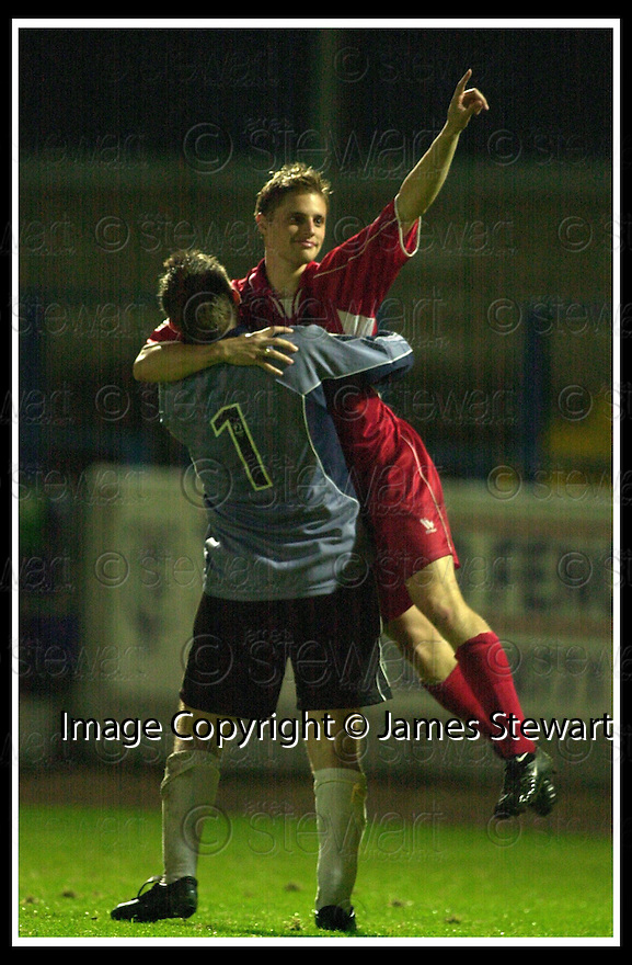 11/09/2002                   Copyright Pic : James Stewart.File Name : stewart-stirling v smuir 12.KEEPER IAN TURNER CELEBRATES WITH STEVEN NICHOLAS AFTER HE FIRED HOME THE WINNING PENALTY....Payments to :-.James Stewart Photo Agency, 19 Carronlea Drive, Falkirk. FK2 8DN      Vat Reg No. 607 6932 25.Office     : +44 (0)1324 570906     .Mobile  : +44 (0)7721 416997.Fax         :  +44 (0)1324 570906.E-mail  :  jim@jspa.co.uk.If you require further information then contact Jim Stewart on any of the numbers above.........