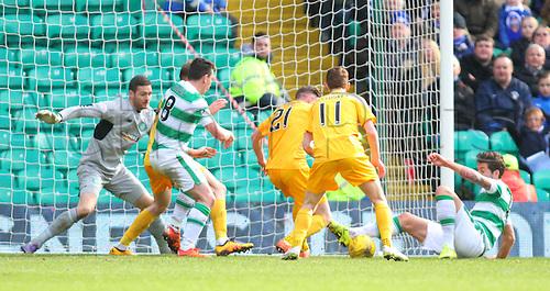 06.03.2016. Celtic Park, Glasgow, Scotland. Scottish Cup. Celtic versus Morton. Charlie Mulgrew makes a block in defence
