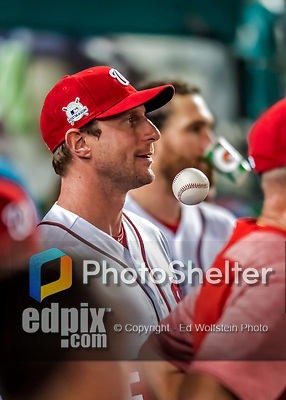 6 October 2017: Washington Nationals pitcher Max Scherzer looks out from the dugout during the first game of the NLDS against the Chicago Cubs at Nationals Park in Washington, DC. The Cubs shut out the Nationals 3-0 to take a 1-0 lead in their best of five Postseason series. Mandatory Credit: Ed Wolfstein Photo *** RAW (NEF) Image File Available ***
