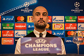 31st October 2017, San Paolo Stadium, Naples, Italy; UEFA Champions League; Pre Match Press Conference; SSC Napoli versus Manchester City; Head Coach Josep Guardiola of Manchester City looks on during the pre match press conference