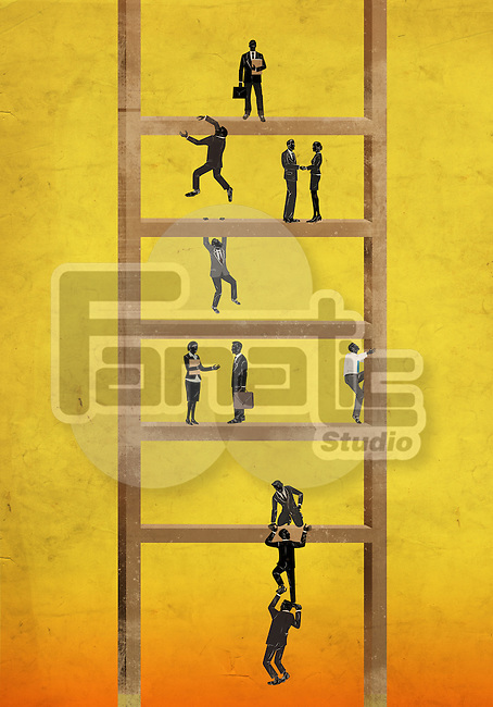 Illustrative image of business people on ladder representing hierarchy