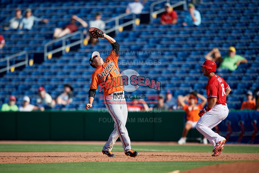 Baltimore Orioles first baseman Ryan Mountcastle (76) catches a pop up as Austin Listi (76) looks on during a Grapefruit League Spring Training game against the Philadelphia Phillies on February 28, 2019 at Spectrum Field in Clearwater, Florida.  Orioles tied the Phillies 5-5.  (Mike Janes/Four Seam Images)